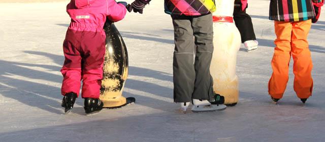 Kinder am Eislaufplatz in Zwettl beim Üben