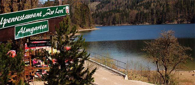 Blick auf den Scharzensee vom Gasthaus zur Lore aus