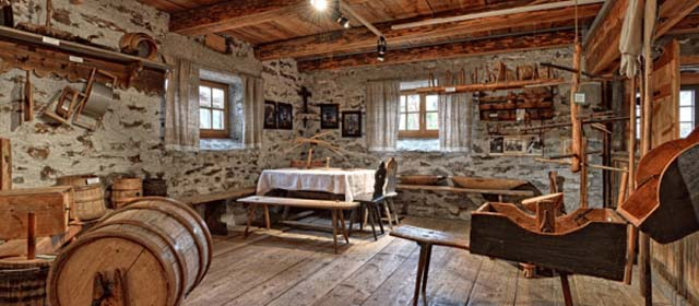 Holzhaus Innenraum im Holzmuseum in St. Ruprecht ob Murau