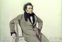 Franz Schubert, Aquarell von Wilhelm August Rieder, 1825